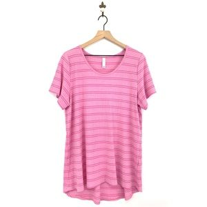 LuLaRoe Pink Striped Ribbed Tee Plus Size 2XL